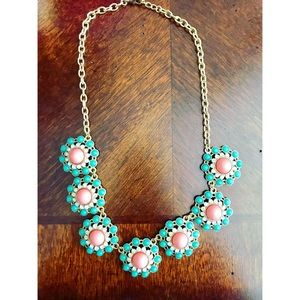 Ily Couture green and pink Statement Necklace